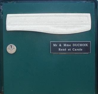 tiquette de boîte aux lettres